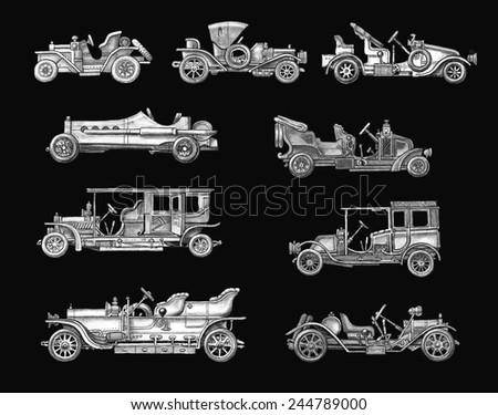 Old Black and White Retro Cars - stock photo