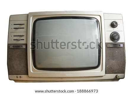 Old black and white TV isolated on a white background.