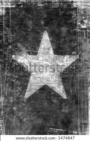 old, Black and white vintage paper with white star - stock photo