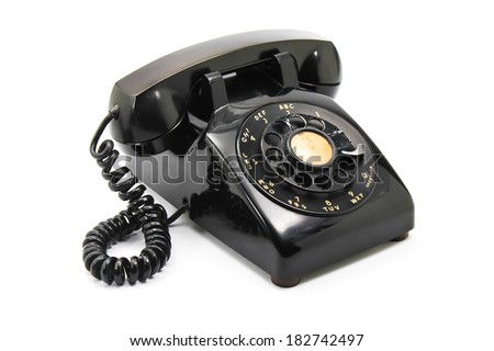old black antique rotary style telephone