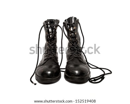 old black army boots isolated on white background - stock photo