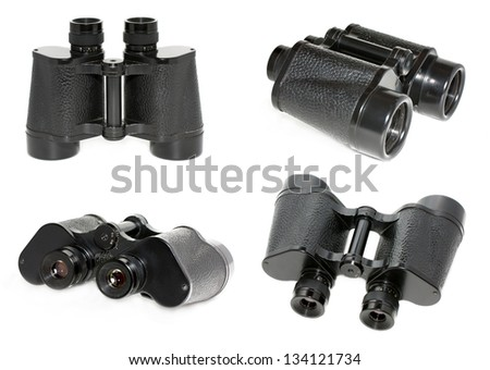 Old black binoculars - stock photo