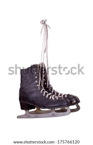 old black ice skates - stock photo