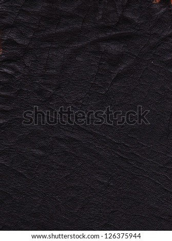 Old black leather texture - stock photo