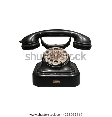old black phone isolated on white