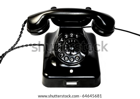Old black rotary phone