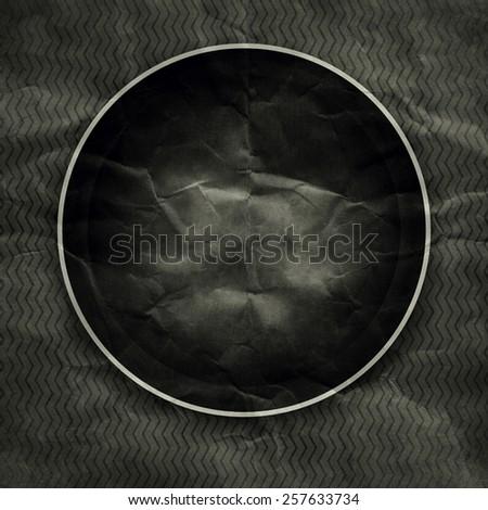 Old black round paper photo frame  - stock photo