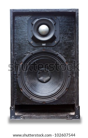 Old black speaker isolated on white background - stock photo