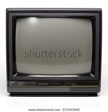 Old Black TV isolated on White Background. Front View with Real Shadow. Copy Space for Text or Image - stock photo