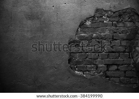 Old black wall. Black background. Black grunge wall for white text. Texture - stock photo