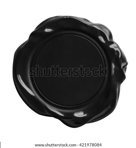 old black wax seal stamp isolated with clipping path included - stock photo