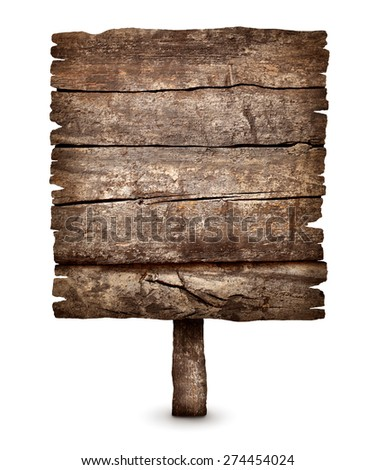 Old black weathered wooden sign board ready for message isolated on white - stock photo