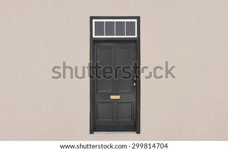 Old black wooden door  - stock photo