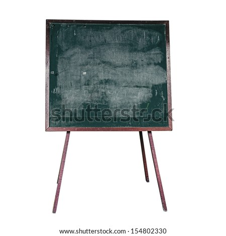 Old blackboard on white with clipping path - stock photo