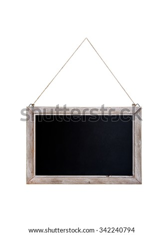 Old blackboard with wooden frame hanging on a rope. Isolated on white background. - stock photo