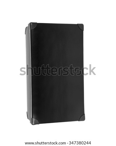 old blak briefcase isolated on white - stock photo