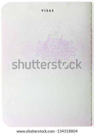 Old blank Australian passport page isolated on white background - stock photo