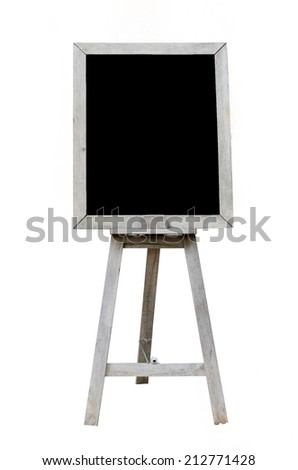 Old  Blank black art board, wooden easel, front view, isolated on white background