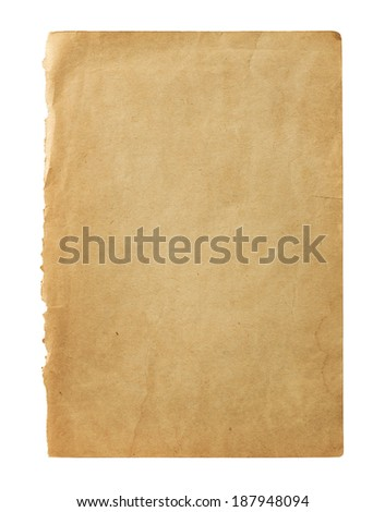 Old blank book page isolated on white background with copy space - stock photo