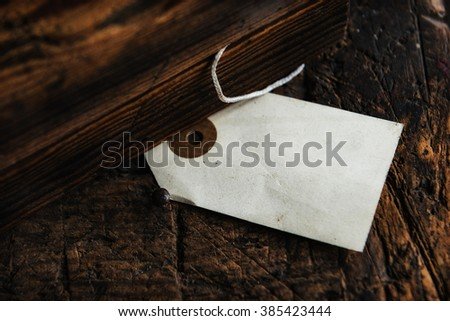 Old blank label between old wood