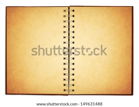 old blank notebook for take notes; included clipping path