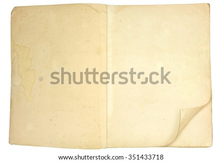 Old blank open book with grungy pages, isolated on white background. - stock photo