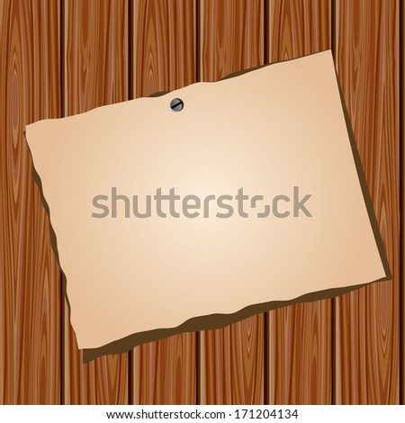 Old blank paper on brown wooden wall. Raster version - stock photo