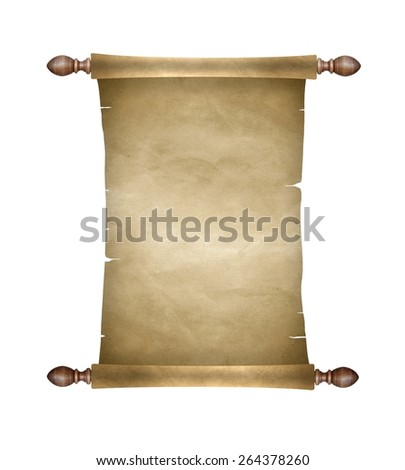 Old blank paper scroll - stock photo