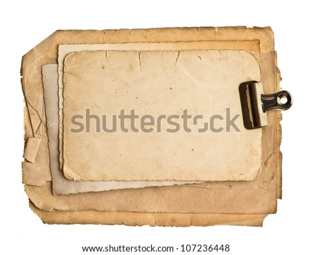 old blank paper sheets with clip isolated on white background - stock photo