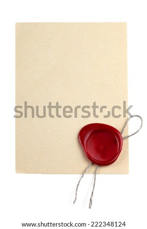 Old blank paper with wax seal - stock photo