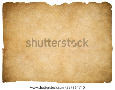 Old blank parchment or paper isolated. Clipping path is included. - stock photo
