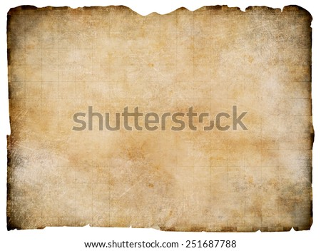 Old blank parchment treasure map isolated. Clipping path is included. - stock photo