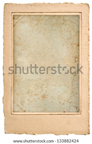 old blank photo post card with frame. vintage grunge paper  background - stock photo