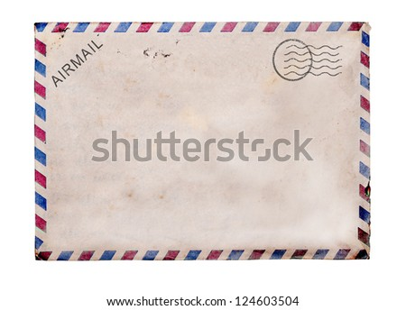 Old blank post card white background, clipping path. - stock photo