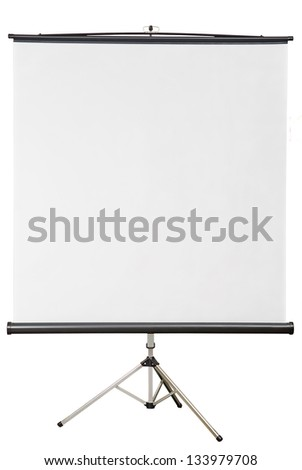 Old blank presentation, slides, movie or projector roller screen on a tripod - stock photo