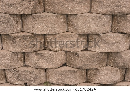 Old Block Wall With Old Texture Outdoors