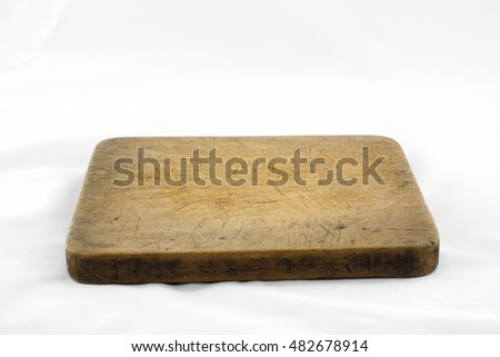old block wood in kitchen isolated on white background