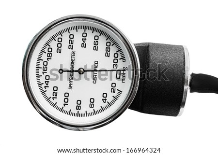 Old blood pressure measurement tool, sphygmomanometer isolated on white. - stock photo