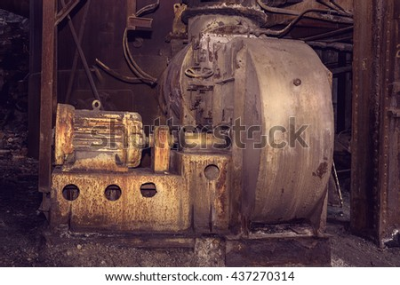 Old blower fan in blast furnace workshop on Mining and metallurgical plant