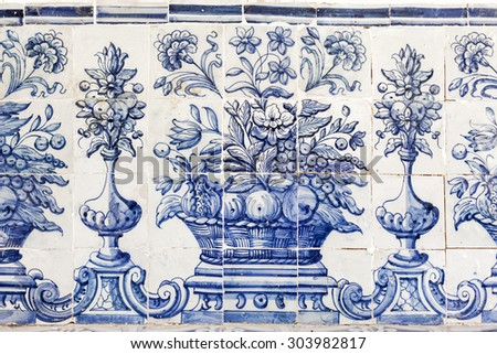 Old blue azulejos picture on the church exterior in Cascais, Portugal.