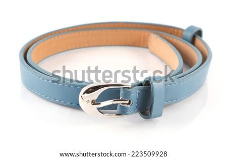 old blue belt on white background - stock photo