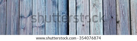 Old blue doors with wood planks as an abstract background texture - wooden panorama / header / banner.