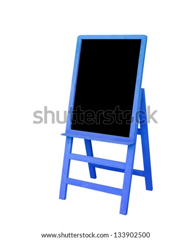 Old blue frame black board is on white background - stock photo