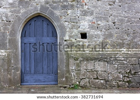 Old Blue Gothic Church Back Door