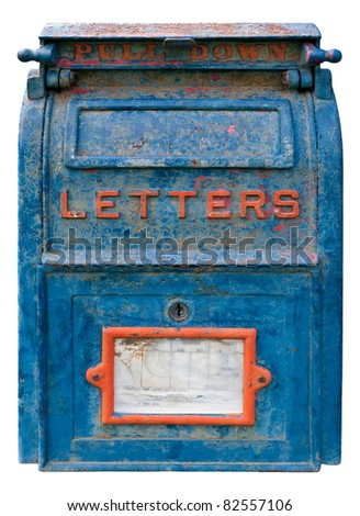 Old Blue Mailbox - cracked & rusting