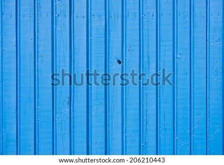 Old blue painted wooden plank background. Close up