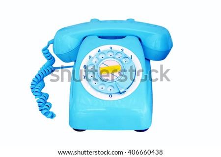Old blue  phone isolated on white background - stock photo