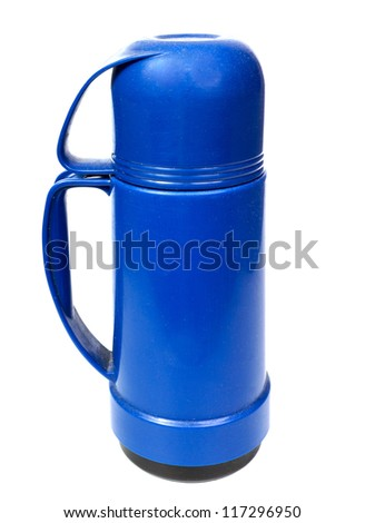 old blue plastic thermos for drinks, it is isolated on the white - stock photo