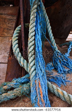 old blue rope hanging - stock photo