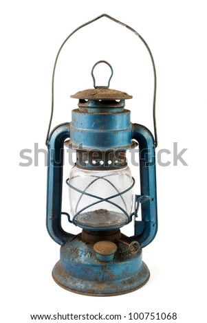 Old blue rusty lantern over white - stock photo
